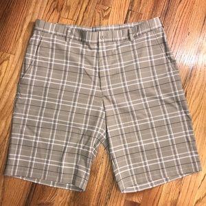 Nike Golf Dri-Fit Sz 36 men's shorts EUC Tan plaid